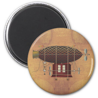 The Airship Petite Rouge Steampunk Flying Machine 2 Inch Round Magnet