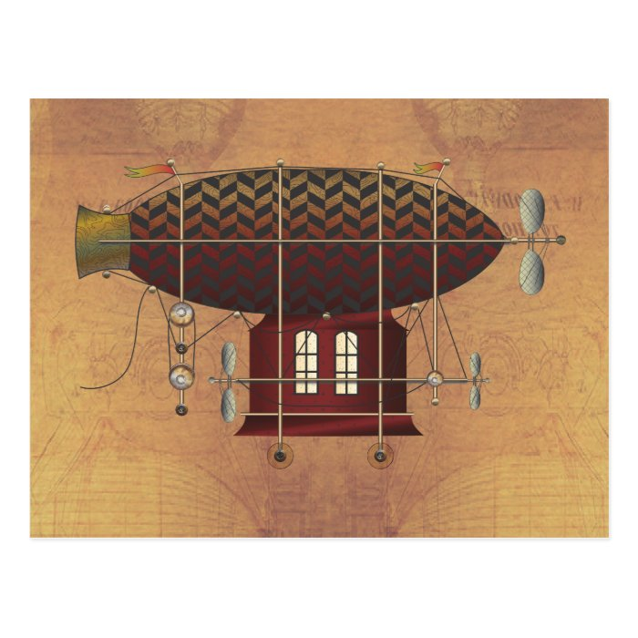 The Airship Petite Rouge Steampunk Flying Machine Postcard
