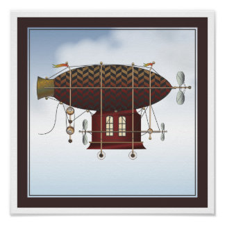The Airship Petite Rouge Steampunk Flying Machine Print
