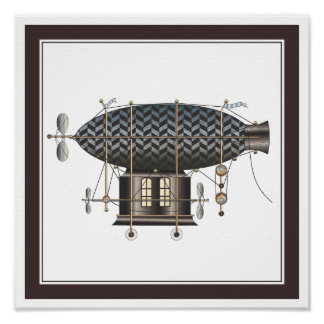 The Airship Petite Rouge Steampunk Flying Machine Posters