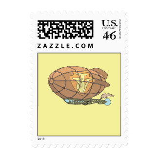 """The airship """"steampunk"""" Jules Verne Stamp"""