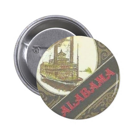 THE ALABAMA RIVERBOAT LUCKY GAMBLER ! 2 INCH ROUND BUTTON