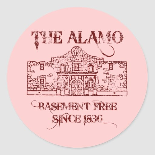 the alamo basement classic round sticker zazzle