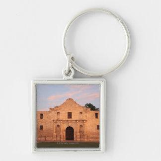 The Alamo Mission in modern day San Antonio, 2 Silver-Colored Square Keychain