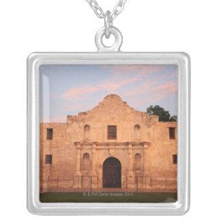 The Alamo Mission in modern day San Antonio, 2 Square Pendant Necklace