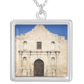 The Alamo Mission in modern day San Antonio, 3 Square Pendant Necklace