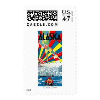 The Alaska Line Steamship Poster Postage
