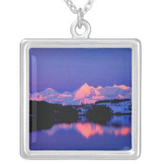 The Alaskan Range is adjacent to Mt. Denali, Square Pendant Necklace