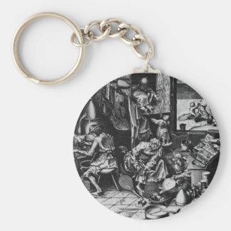 The Alchemist by Pieter Bruegel the Elder Basic Round Button Keychain