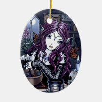 alchemist, gothic, spells, potion, fairy, fae, faerie, faeries, fairies, fantasy, skull, myka, jelina, mika, art, Ornament with custom graphic design