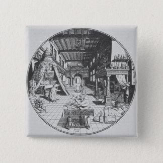 The Alchemist in his Laboratory, from 'Amphitheatr Button