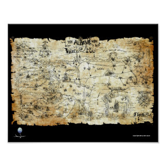 The Aldaya Series Fantasy Map Sepia Colored Posters