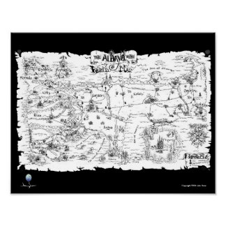The Aldaya Series Map in Black and White Poster