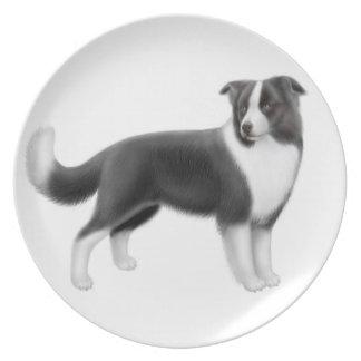 The Alert Border Collie Dog Plate