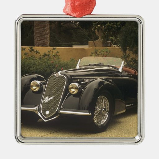 The Alfa Romeo 8C 2900B is a very rare and very Square Metal Christmas Ornament