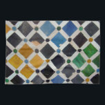 """The Alhambra Andalusia Spain Kitchen Towel<br><div class=""""desc"""">These beautiful geometric patterns of the Ottomans are from the Moorish wonder of the world,  the Alhambra in Andalusia,  Spain. Ancient tiles with gem-like colors. Ancient and yet timeless.</div>"""