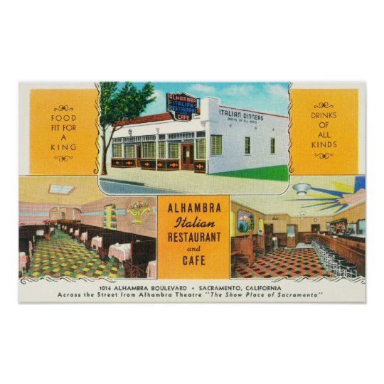 The Alhambra Italian Restaurant & Caf� Poster