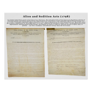 The Alien and Sedition Acts 1798 Poster