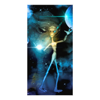 The alien in the universe picture card