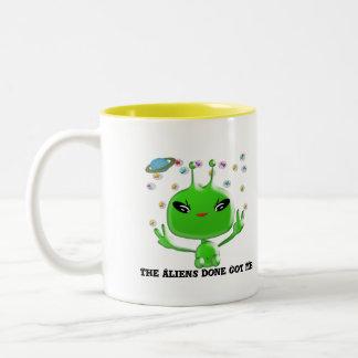 The Aliens Done Got Me Two-Tone Coffee Mug