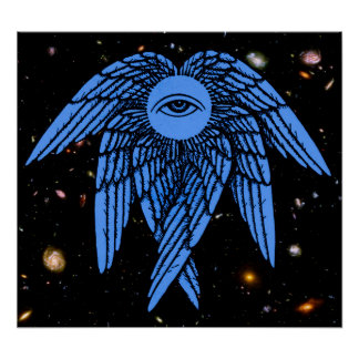 The All Seeing Eye of Providence in Blue Poster