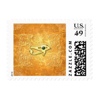 The all seeing eye with eye in soft colors postage stamp