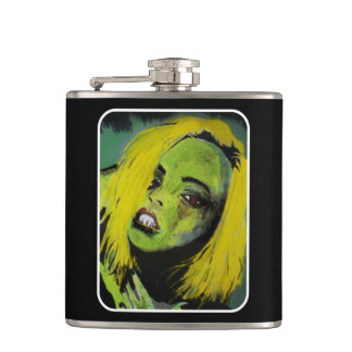 'the Alligator Girl of big Cypress Swamp' on a sta Flask