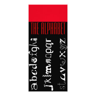The Alphabet, ABC Language Rack Card, Red Black Rack Card