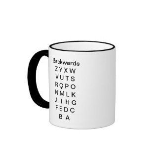 The Alphabet Cup Forwards and Backwards Coffee Mugs