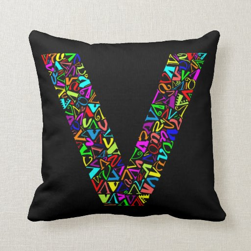 The Alphabet Letter V Throw Pillows