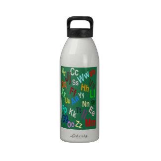 The Alphabet on Dark Spring Green Reusable Water Bottle