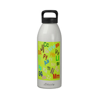 The Alphabet on Fluorescent Yellow Reusable Water Bottle