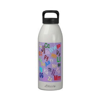 The Alphabet on Light Pastel Purple Reusable Water Bottle
