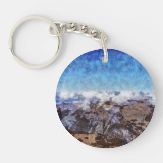The Alps from overhead Single-Sided Round Acrylic Keychain
