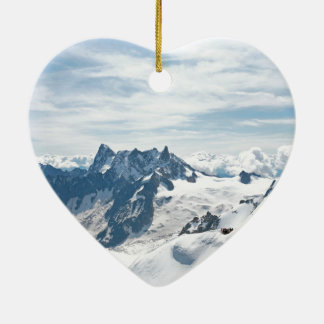 The Alps mountain range - Stunning! Double-Sided Heart Ceramic Christmas Ornament