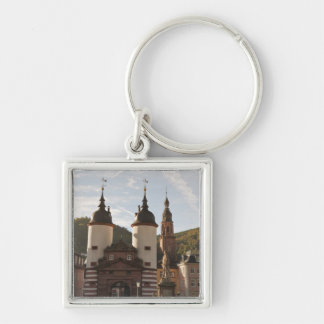 The Alte Brucke in Old Town, Heidelberg, Germany Silver-Colored Square Keychain