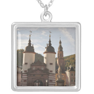 The Alte Brucke in Old Town, Heidelberg, Germany Silver Plated Necklace