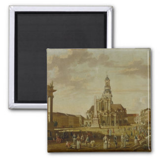 The Alter Markt with the Church of St. 2 Inch Square Magnet