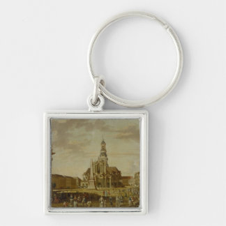 The Alter Markt with the Church of St. Silver-Colored Square Keychain