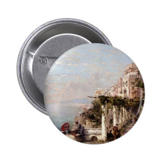 The Amalfi Coast by Franz Richard Unterberger Pinback Buttons