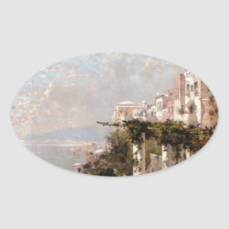 The Amalfi Coast by Franz Richard Unterberger Oval Sticker