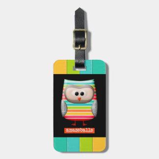 The Amazing Amazeballs Striped Owl Luggage Tag