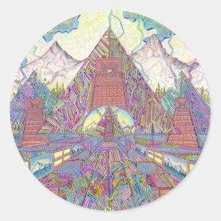 The Amazing Pyramid MazeScape Classic Round Sticker