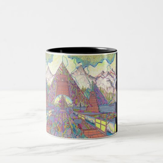 The Amazing Pyramid MazeScape Two-Tone Coffee Mug