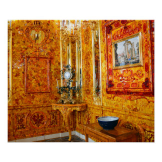 The Amber Room in Catherine Palace, Russia Poster