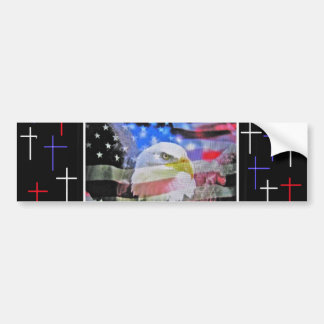 The American Bald Eagle, The Flag and The Cross. Car Bumper Sticker
