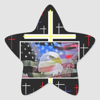 The American Bald Eagle, The Flag and The Cross. Star Sticker