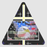 The American Bald Eagle, The Flag and The Cross. Triangle Stickers