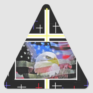 The American Bald Eagle, The Flag and The Cross. Triangle Sticker