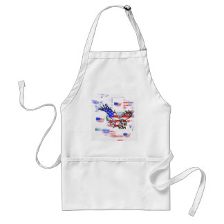 The American bald Eagle, the Flag and the Map. Adult Apron